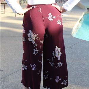 Lauren Conrad Runway Maroon Floral Culottes